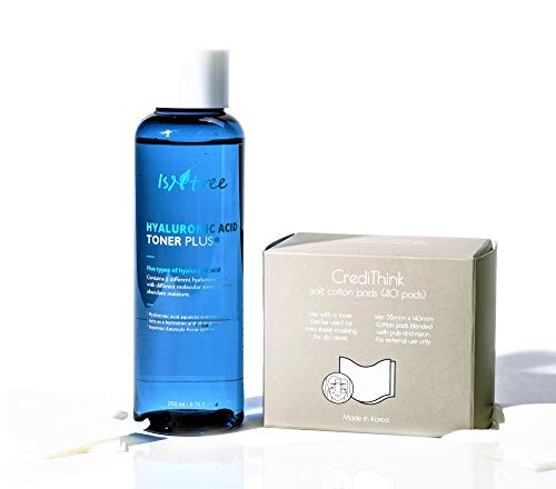 ISNTREE Hyaluronic Acid Korean Essence Hydrating Toner Plus with Cotton Pads for Face with Dry, Sensitive Skin | Reduce Acne, Redness, Wrinkles | Improve Hydration, Smooth Feelings | Deep Moisturizing