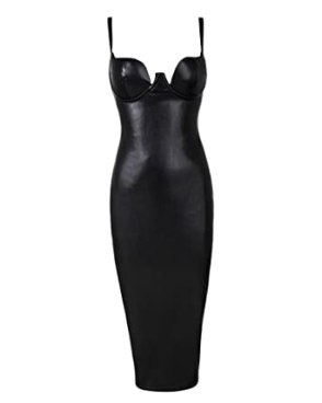 UONBOX Women's Leather Sexy Strap Sleeveless Cocktail Midi Bodycon Dress Black M