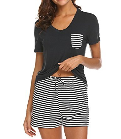 Hotouch Womens Pajama Set Striped Short Sleeve Sleepwear Pjs Sets