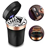 SOLARXIA Car Ashtray, Auto Ashtray Cigar Electronic Cigarette Lighter Detachable Solar Powered/USB Rechargeable with Lid Blue LED Light Stainless Ceramic for Most Car Cup Holder Home Office (Black)
