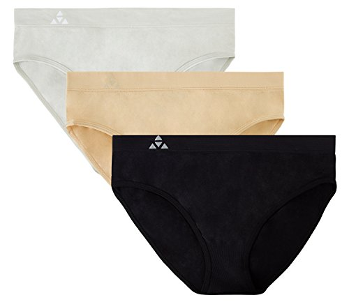 Balanced Tech Women's 3 Pack Classic Seamless Hipster Brief Bikini Panties - Black/Nude/Gray - Medium
