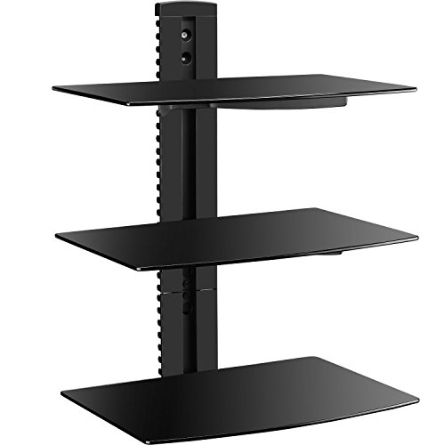WALI Floating Wall Mounted Shelf with Strengthened Tempered Glasses for DVD Players, Cable Boxes, Games Consoles, TV Accessories (CS303), 3 Shelves, Black