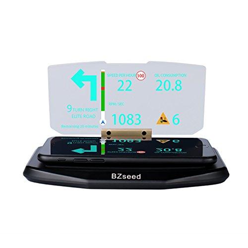 BZseed Head Up Display, Car HUD Phone GPS Navigation Image Reflector, Cell phone Holder Mount, Universal Smart Mobile Cell phone Holder Mount - Black