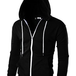 OHOO Mens Slim Fit Long Sleeve Lightweight Zip-up Hoodie with Kanga Pocket 16 Fashion Online Shop Gifts for her Gifts for him womens full figure