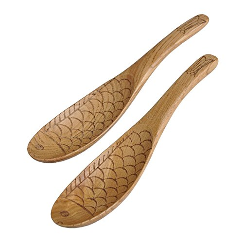 Newest trent Fish Shape No Scratch Non-stick Cookware Pure Natural Wood Rice Spoon Burlywood