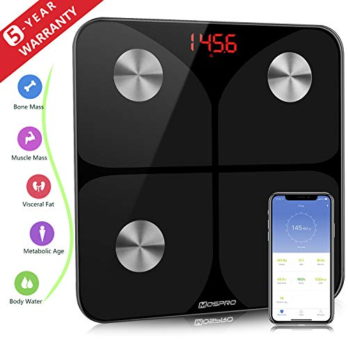 Digital Body Fat Weight Scale - FDA Approved - Smart Bathroom BMI Scale Wireless Body Composition Analyzer Health Monitor with iOS and Android App for Body Weight Fat Water BMR and More
