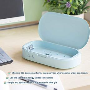 YYAN-Cell-Phone-Cleaner-Box-Wireless-Charger-Portable-Smartphone-Cleaning-Light-Green
