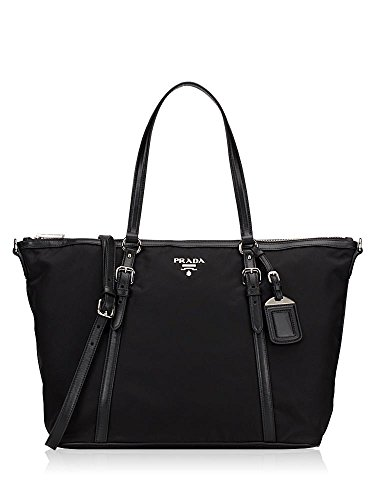 41fVYmrkZtL Prada 1BG253 Tessuto Soft Calf Nylon and Leather Shopping Tote Bag Art: Prada 1BG253, Dimensions: 20 x 6 x 12 inches (lwh) Material: Tessuto + Soft Calf Leather (Nylon and calf leather)