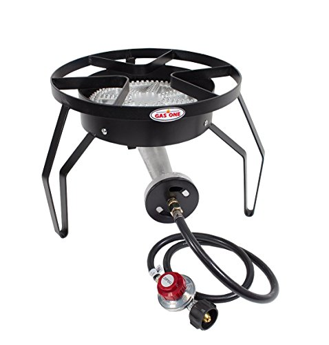 GAS ONE 200,000 BTU Single Burner Outdoor Stove Propane Gas Cooker with Adjustable 0-20PSI CSA Listed Regulator and Hose Perfect for Home Brewing Turkey Fry Outdoor Cooking Maple Syrup Prep