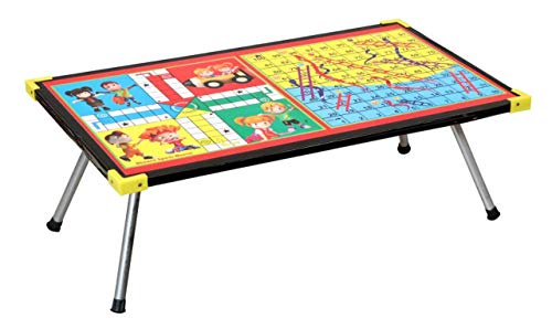 SS Creation Bed Study and Laptop Support Table|Wooden Ludo,Snakes and Ladders Printed Foldable Study Table (Small) 139