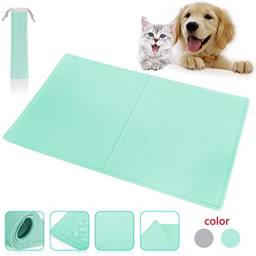 Fun Meows Silicone Dog cat pet Food and Water Mats Tray,Waterproof Non-Slip Durable Bowl mats Placemat, Made of Safe Soft Material Dog cat pet FDA Grade Feeding mat,Easy to Clean 1