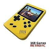 BAORUITENG Handheld Game Console, Retro FC Game Console,Video Game Console with 3 Inch 168 Classic Games (Yellow)