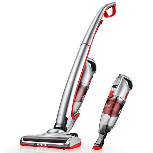 Deik Cordless Vacuum Cleaner, 2 in 1 Handheld Vacuum, 2019 Upgrade Version, Ultra Wide Brush Head & LED Headlight for Home and Cleaning -Silver