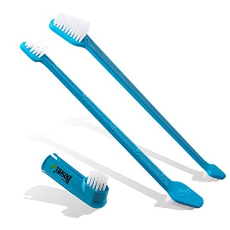 BOSHEL-Dog-Toothbrush-Pack-2-Long-Handled-Dual-Headed-Toothbrush-1-Dog-Finger-Toothbrush-Kit-for-Dog-Dental-Care-Use-Double-Sided-Pet-Toothbrush-Set-Pet-Finger-Toothbrush-with-Dog-Toothpaste