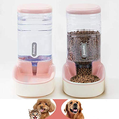 SLA-SHOP Pets Cats Dogs Automatic Waterer and Food Feeder 3.8 L with 1 Water Dispenser and 1 Pet Automatic Feeder 1