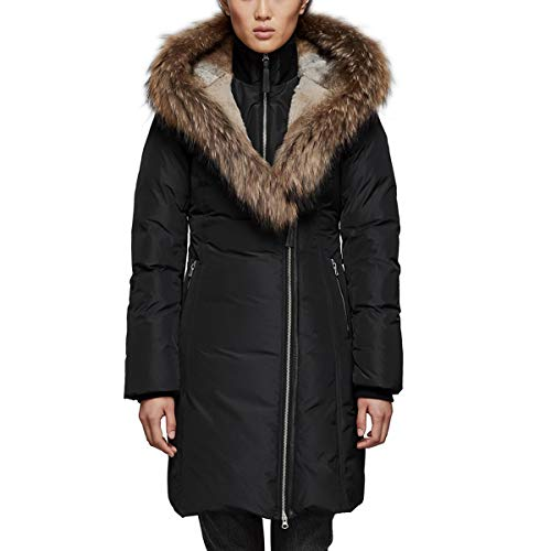 61JWIOgFJLL Material: [exterior] 100% polyester, [lining] polyester, [trim] acrylic, wool, spandex, [ruff trim] Asiatic raccoon, rabbit Insulation: duck-down Fit: regular