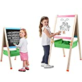 Jamohom Kids Standing Art Easel Double Side Whiteboard with Chalkboard Magnetic Alphabet Toddlers Storage Drawing Board for Boys and Girls Gifts
