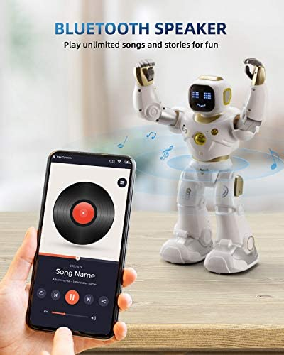 Ruko AI Robots for Kids, Large Programmable RC Robot Toy with APP Control Voice Command Touch Response Bluetooth Speaker Emoji for 3-12 Years Old Boys Girls (Golden) 17