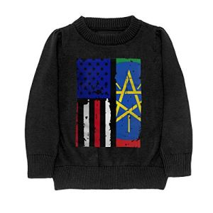 HJKNF58Q Ethiopia American USA Flag Pride Sweater Youth Kids Funny Crew Neck Pullover Sweatshirt