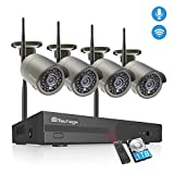 Techage Wireless Security Camera System with Audio,4CH 1080P HD WiFi Wireless Surveillance Camera System,4 Weatherproof IP Cameras Auto Pair WiFi H.265 NVR,Motion Alerts,Remote View(1TB Hard Drive)