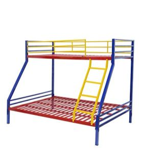 Royal-Interiors-Mia-Twin-Metal-Bunk-Cot-Bed-QueenBottom-SingleTop-Frame-Only-Mattress-not-Included-Red-Blue-Yellow
