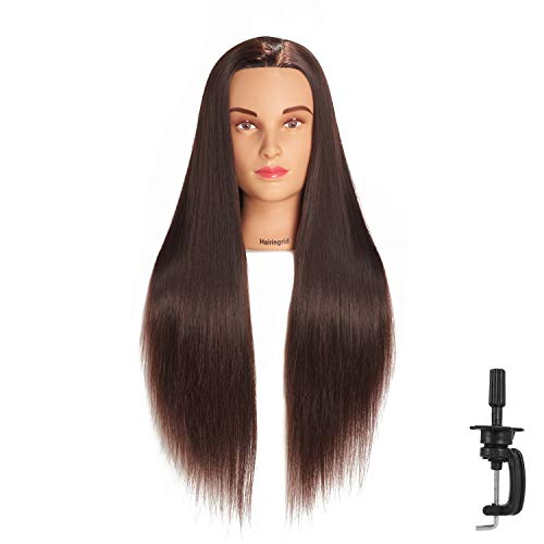 Hairingrid 26'-28' Mannequin Head Hair Styling Training Head Manikin Cosmetology Doll Head Synthetic Fiber Hair and Free Clamp Holder (R71907LB2T420)