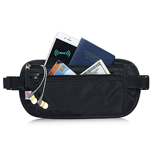 AIKELIDA RFID Blocking Travel Wallet - Money Belt & Passport Holder - Black