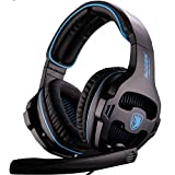 SADES SA810 PlayStation 4 Xbox One S Stereo Headset Over-Ear Gaming Headphones with Microphone for PC PS4 Xbox one iPad Mobile Tablet Mac (Black & Blue)