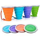 JUREN Silicone Collapsible Cup, 4 Pcs Foldable Travel Camping Cup, Expandable Drinking Cup Set with Lids for Outdoor Camping/Hiking/Office and Home(270ml)