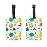 Set of 2 Luggage Tags Pineapples Lemon Fruit Suitcase Labels Travel Accessories