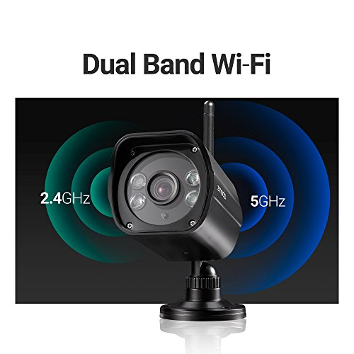 Zmodo 1080p Full HD Wireless Security Camera System, Dual Band 5GHz/2.4GHz, 98ft Night Vision, 96° Wide Viewing Angle - Works with Alexa