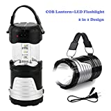 Operkey LED Camping Lantern Portable Outdoor Flashlight with Solar Panel, Camping Gear Handheld Flashlights 2-in-1 Camping Lights for Hiking, Camping, Emergencies, Hurricanes, Outages (1 Pack)