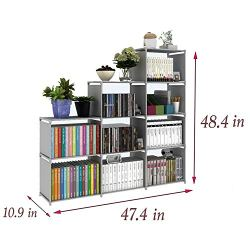 usuallye 9 Cube Storage Organizer Shelves DIY Open Stackable Bookshelf Closet Rack Bookcase Cabinet for Bedroom Living Room Office (Grey)