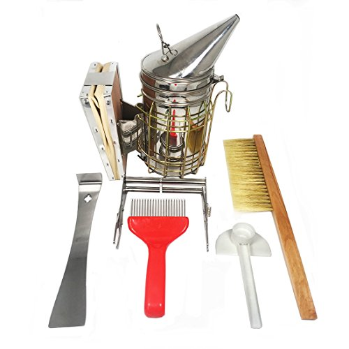 Navadeal Beekeeping Tools Kit - 6 Pcs -Hive Smoker, Scraper, Brush, Feeder, Fork, Frame Grip