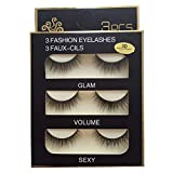 Sunniess Hair Imported Fiber Attractive 3D Mink Handmade Reusable Long Cross False Eyelashes Makeup Thick Natural Black Fake Eye Lashes 3 Pairs(3D-03)