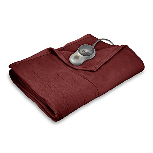 Sunbeam Heated Blanket | 10 Heat Settings, Quilted Fleece, Garnet, King