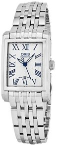 Oris Rectangular Date Womens Silver Face Luminous Hands Swiss Made Stainless Steel Rectangle Automatic Watch 01 561 7656 4071-07 8 17 82