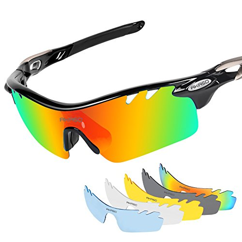 AKASO Men's Chameleon Multisport Polarized Sunglasses with 5 interchangeable lenses and 100% UV Protective Cycling Sunglasses