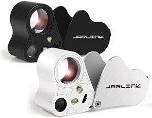 JARLINK 2 Pack 30X 60X Illuminated Jewelers Eye Loupe Magnifier, Foldable Jewelry Magnifiers with Bright LED Light for Gems, Jewelry, Coins, Stamps, etc (White & Black)