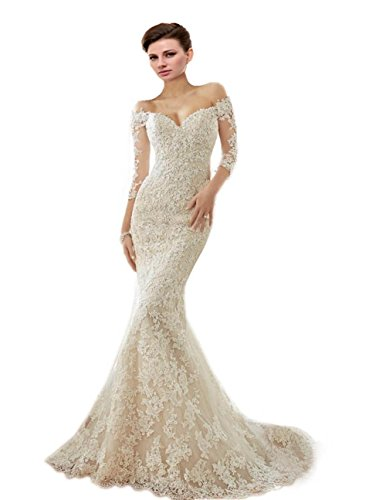 41gApyerjhL Made to Order Shipped directly to buyer from Engerla Dresses in China Long Off-shoulder Beach Wedding Dress with Applique