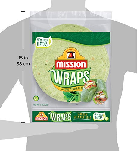 Mission Garden Spinach Herb Wraps, Soft Veggie Wraps, Trans Fat Free, 6 Count 3