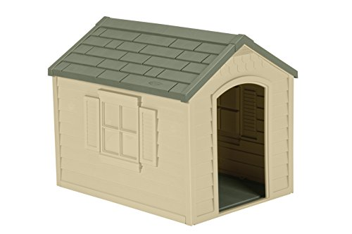 Suncast Outdoor Dog House with Door - Water Resistant Dog House for Small to...