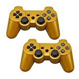 Tidoom PS3 Controller 2 Pack Wireless Bluetooth 6-Axis Gamepad Controllers Compatible for Playstation 3 Dualshock 3 Gold