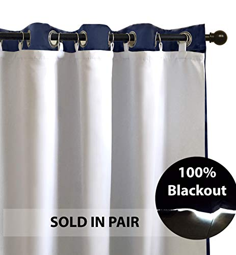 DriftAway Thermal Insulated 100% Darkening, Blackout Curtain Liner for 84-inch Grommet Curtains, Set of 2, Each Liner Size (50'x80'), Rings Included, White Panel