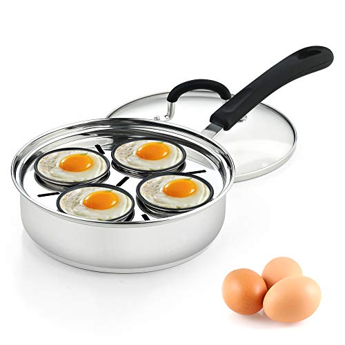 Cook N Home 02625 4 Cup Stainless Steel Egg Poacher Pan 8'