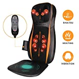 Shiatsu Neck & Back Massager for Chair with Heat - Massage Chair Pad with Full Back Kneading, Neck Height Adjustable, Vibration on Seat Cushion for Hip Body Muscle Pain Relief- Home Office Chair Use