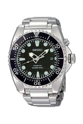 Seiko Men's SKA371P1 Kinetic Black Dial Watch