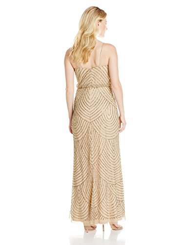 41ga6uWGDvL Sleeveless gown in beaded design featuring V-neckline and blouson bodice Adjustable spaghetti straps FABRICATION CATEGORY: KNIT