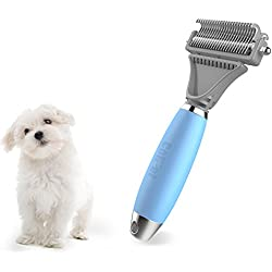 Pet Dematting Comb - Colpet CP-GT01 Professional Pet Dematting Comb with Dual Sided, Silicone handle Grooming Rake for Cats & Dogs, Light Blue
