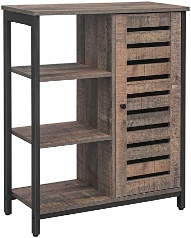 VASAGLE LOWELL Storage Cabinet, Cupboard, Multipurpose Cabinet, 3 Open Shelves and Closed Compartments, for Kitchen, Living Room, Bedroom, Industrial, Cool Rustic Brown and Black ULSC74BA